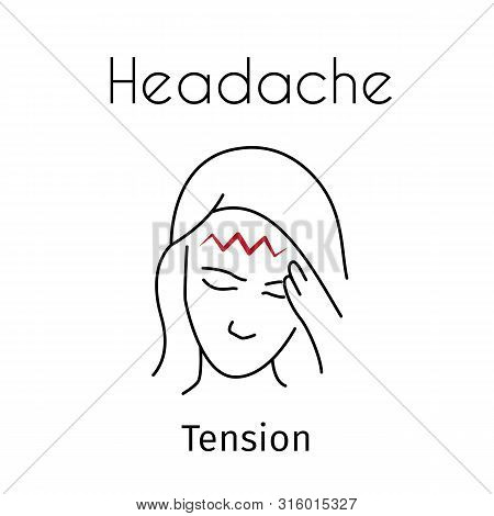 Headache Linear Icon. Vector Abstract Minimal Illustration Of Girl With Red Zigzag On The Head Suffe