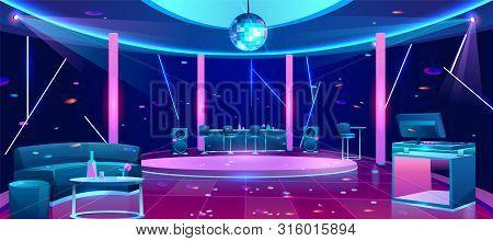 Nightclub Interior With Bright Neon Illumination, Stools Near Bar Counter, Comfortable Sofa, Alcohol