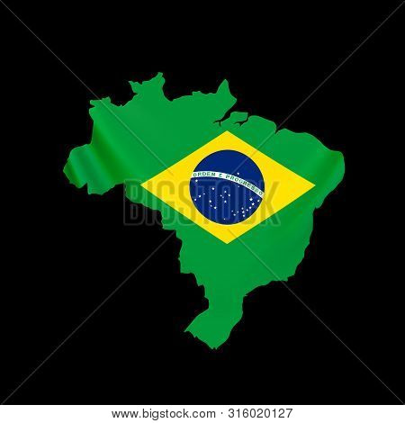 Hanging Brazil Flag In Form Of Map. Federative Republic Of Brazil. Brazilian National Flag Concept.
