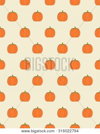 Seamless Pattern With Pumpkins On Beige Background, Simple Picture With Pumpkins To Holiday Hallowee