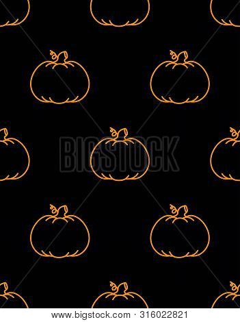 Seamless Pattern With Contur Pumpkins On Black Background, Simple Picture With Pumpkins To Holiday H