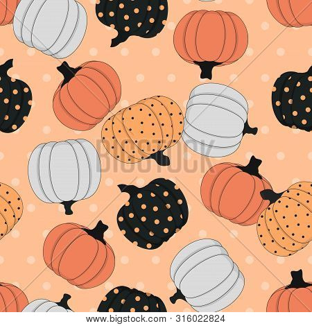 Seamless Pattern With Colored Pumpkins On Pink Background, Simple Picture With Pumpkins To Holiday H