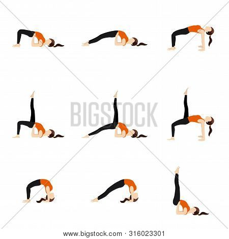 Illustration Stylized Woman Practicing Yoga Postures With Spine Bends