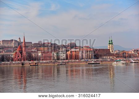 Buda From Pest , Budapest, Hungary, With Reflexes On The Danube