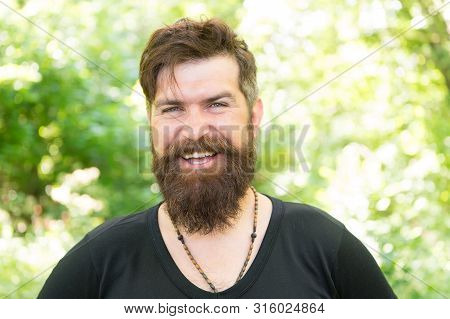Hair Cut For Your Face Shape. Happy Guy With Shaped Beard And Styled Hair. Hairy Hipster With Stylis