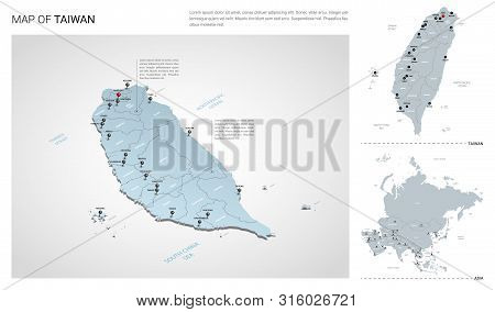 Vector Set Of Taiwan Country.  Isometric 3d Map, Taiwan Map, Asia Map - With Region, State Names And