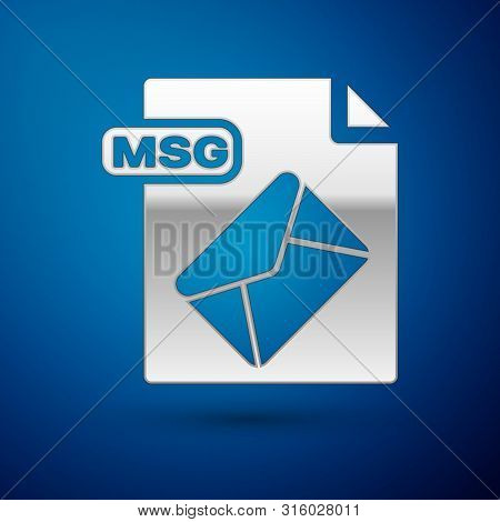 Silver Msg File Document. Download Msg Button Icon Isolated On Blue Background. Msg File Symbol. Vec