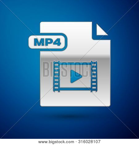 Silver Mp4 File Document. Download Mp4 Button Icon Isolated On Blue Background. Mp4 File Symbol. Vec