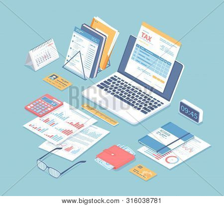 Online Tax Payment, Bookkeeping, Accounting. Tax Form On A Laptop Screen, Calendar, Calculator, Fold