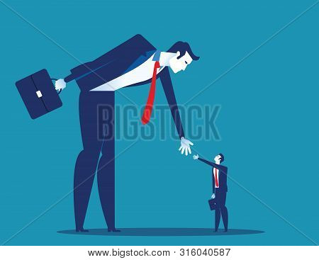 Big Business Bending Down To Shake Hand With Small Business. Concept Business Vector Illustration.