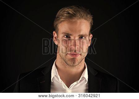 Business Man Well Groomed Guy Dark Background. Business People Hairstyle. Businessman Hair Groomed F