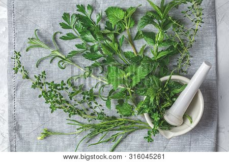 Mortar With  Herbs And Spices. Fresh Herbs Selection Included Rosemary, Thyme, Mint, Lemon Balm, Par