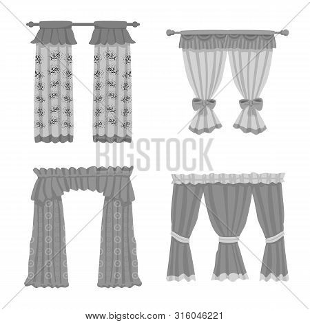Vector Design Of Interior And Cornice Icon. Collection Of Interior And Drapes Stock Symbol For Web.