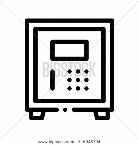 Electronic Safe Deposit Vector Thin Line Icon. Safe Deposit For Guests Valuables, Hotel Performance
