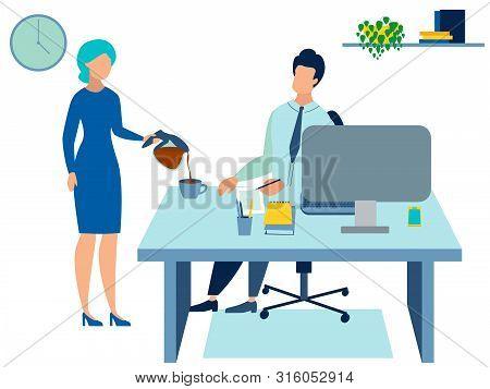 Secretary Pours Coffee To The Boss. In Minimalist Style Cartoon Flat Raster