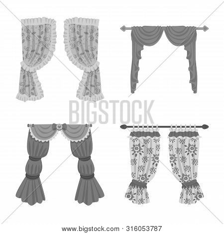 Vector design of interior and cornice logo. Set of interior and drapes stock symbol for web. poster