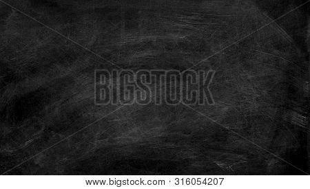 Black Chalk Board Texture Background.  Chalkboard, Blackboard, School Board  Surface With Scratches