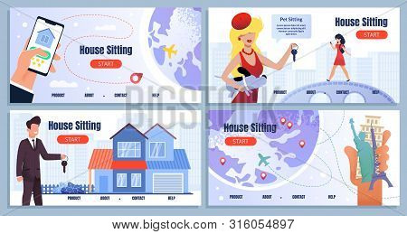 House Sitting Service Cartoon Landing Page Set. Mortgage And Sharing. Rent Apartment. Relationship L