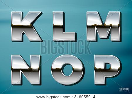 Vector Realistic Chrome Letters With Landscape Relection, On A Bright Blue Car Background. K, L, M,