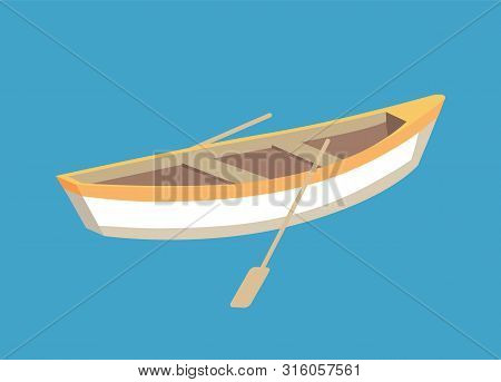 Fishing Boat With Oars, Marine Traveling Vessel. Fisher Ship Sailing Personal Transport, Small Nauti