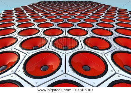 Many Modern Red Speakers On Wall, Floor
