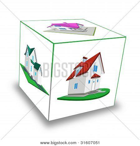 Cube. Frame-house
