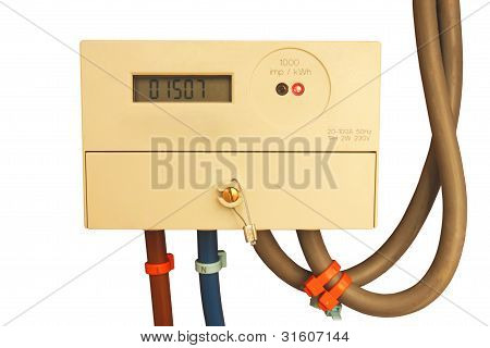 Digital electric meter isolated on white