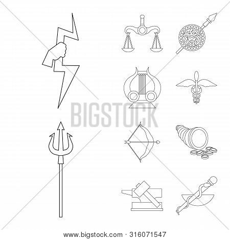Vector Design Of Mythology And God Icon. Set Of Mythology And Culture Stock Symbol For Web.