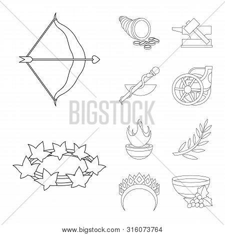 Vector Illustration Of Mythology And God Icon. Set Of Mythology And Culture Stock Symbol For Web.