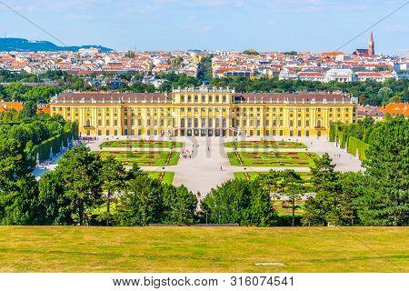 Vienna, Austria - 23 July, 2019: Schonbrunn Palace, German - Schloss Schonbrunn, And Great Parterre