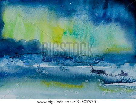 Northern Lights (aurora Borealis) Over  Snowscape Of Frozen Lake And Forested Hills. Picture Created