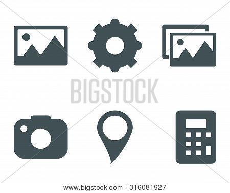 Icon Pack Isolated On White Background. Gallery Icon, Gear Setting Icon, Camera Icon, Location Pin I