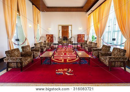 Ho Chi Minh, Vietnam - March 08, 2018: Independence Palace Or Reunification Palace Interior, Main Pu