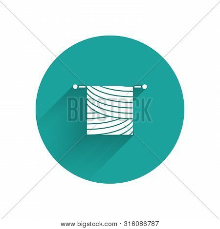 White Knitting Icon Isolated With Long Shadow. Wool Emblem With Knitted Fabric And Needle. Label For