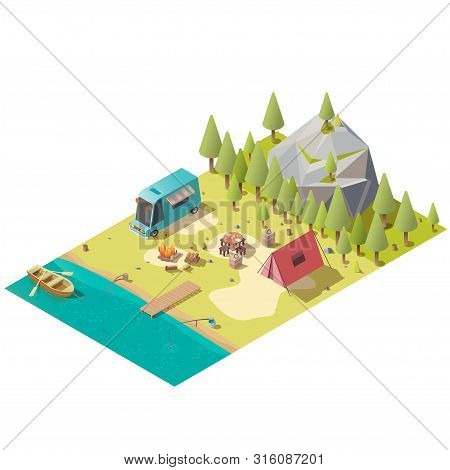 Campground On Mountain Lake Shore With Fireplace, Van, Touristic Tent And Oar Boat In Water Isometri