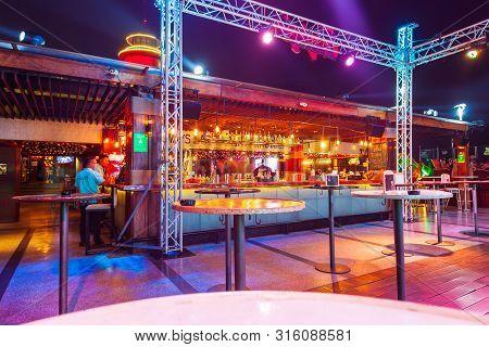 Nha Trang, Vietnam - March 14, 2018: Skylight Nha Trang Rooftop Bar In Premier Havana Hotel In Nha T