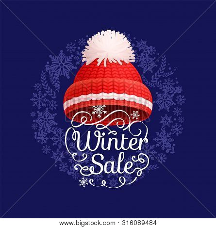Winter Sale Poster Knitted Red Hat With White Pom-pom Vector. Warm Headwear Item, Cloth Thick Woolen
