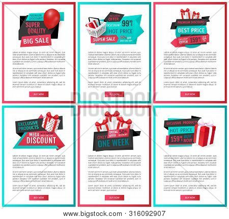 Super Quality Of Products, Big Sales Of Shops Web With Text Vector. Present Boxes With Balloons And