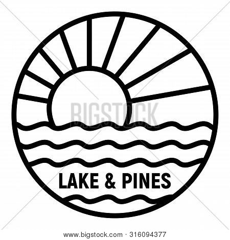 Lake And Pines Logo. Outline Lake And Pines Vector Logo For Web Design Isolated On White Background