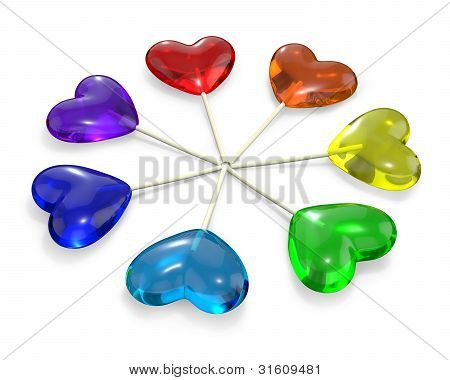 Seven Heart Shaped Lollipops Colored As Rainbow