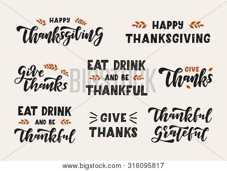 Happy Thanksgiving Hand Drawn Lettering Set. Happy Thanksgiving Day. Template Banner, Poster, Flyer,