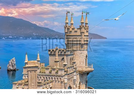 Swallow Nest Castle On The Rock In The Black Sea, Crimea, Ukraine
