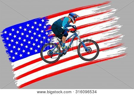 The Cyclist On The Flag Of Usa