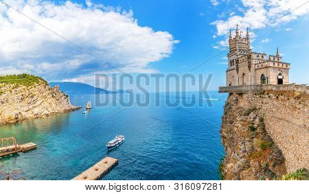 The Swallow Nest And The Harbour In The Black Sea, Crimea, Ukraine