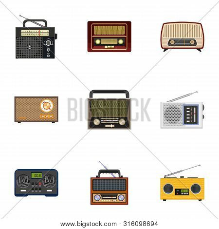 Classic Radio Icon Set. Flat Set Of 9 Classic Radio Vector Icons For Web Design Isolated On White Ba