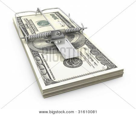 Mouse Trap Made Of Bundle Of Dollars