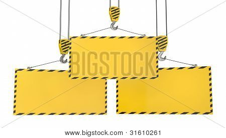 Three Crane Hooks With Blank Yellow Plates