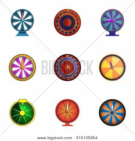 Spin Fortune Wheel Icon Set. Cartoon Set Of 9 Spin Fortune Wheel Vector Icons For Web Design Isolate