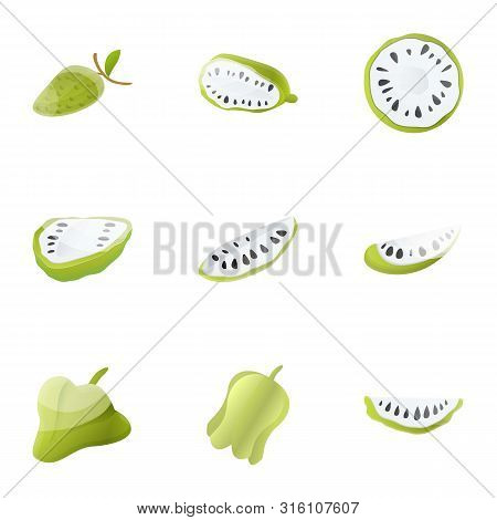 Exotic Soursop Icon Set. Cartoon Set Of 9 Exotic Soursop Vector Icons For Web Design Isolated On Whi