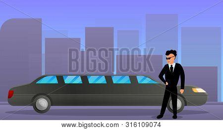 Luxury Limousine Concept Banner. Cartoon Illustration Of Luxury Limousine Vector Concept Banner For